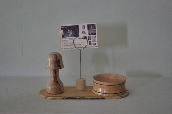 Porte photo de bureau en bois tourné etsy