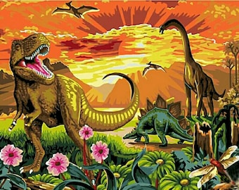 Painting By number,Dinosaur Diy Painting Kit,Dinosaur  Painting On Canvas,Wall Picture Frame Set,Diy Painting, Diy Painting Kit,Diy Gift