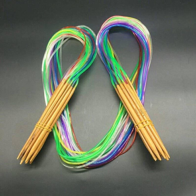 18pcs Multicolor Tube Circular Carbonized Bamboo Wood Knitting Needles 40-120CM
