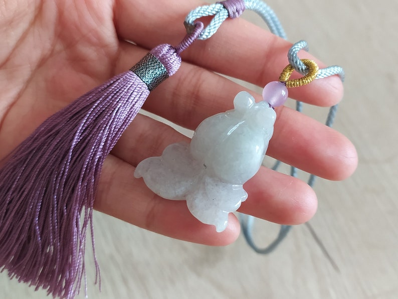 women/'s pompom necklace ASIAN-MOOD China veil fish pendant in burmese white jade Category A natural jadeite