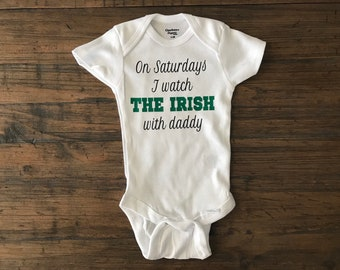 Notre dame baby • notre dame football • the irish • football onesie • notre  dame baby onesie • custom onesie • baby shower gift • dad to be 4a5db597c