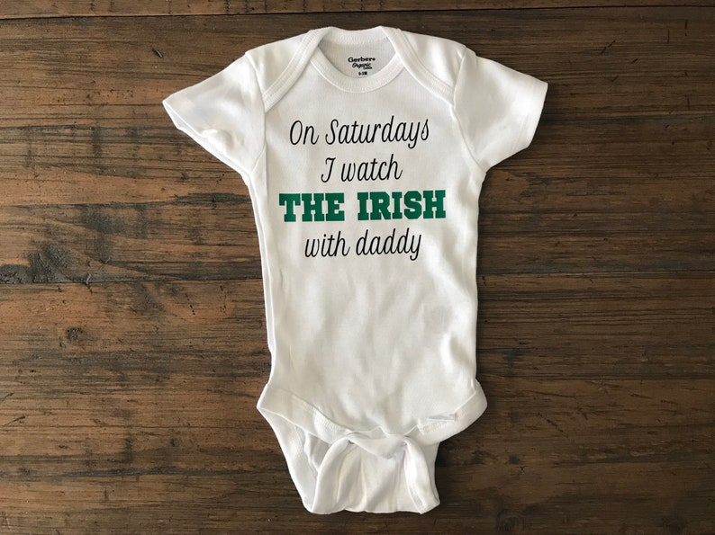 Notre dame baby • notre dame football • the irish • football onesie • notre  dame baby onesie • custom onesie • baby shower gift • dad to be 7715f8380