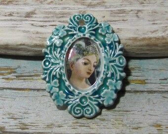 Pendant handcrafted ceramic photo frame portrait, girl, East, turquoise