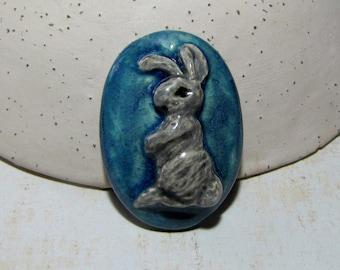 Blue grey rabbit ceramic cabochon