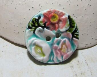 Button bouquet of antique romantic ceramic multicolor green ocean - 1 button