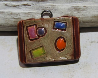 Pendant handcrafted ceramic, suitcase, travel, vacation