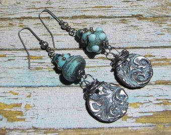 Bohemian earrings rustic jewelry designer steel lampwork Lampwork Glass Beads and textured metal clay