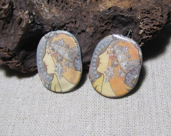 Art nouveau charms, oval handmade ceramics, portrait, young woman, Mucha, creation earrings, feather printing on the back