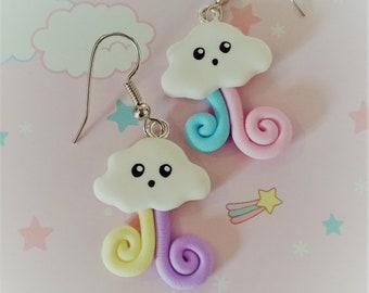 Clouds Rainbow kawaii polymer clay earrings