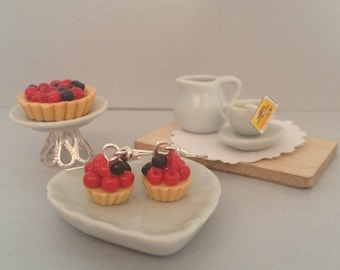 Blueberry Fimo and currant cupcake earrings