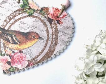 Beaded heart with bird