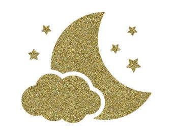 appliqué thermocollant lune nuage étoile flex doré pailleté bb9285c095b