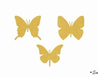 fusible applique 3 Butterfly gold flex paillete