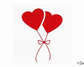 apply 2 flex paillete red heart balloons
