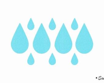 water blue applique rain drop fusible flock
