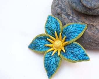 Flower turquoise Clematis (No. 1 set)