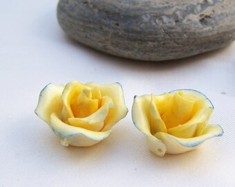 2 yellow roses lined in blue, cold porcelain