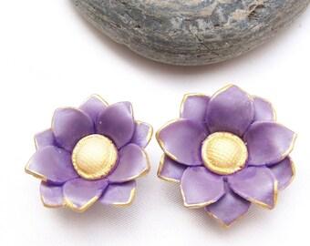 Purple 2 potentilla flower cold porcelain