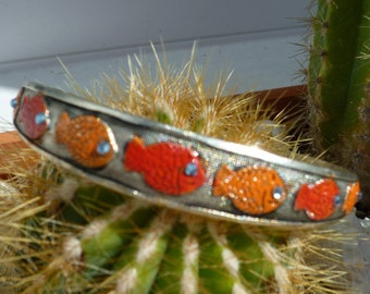 Tibetan silver Bangle Bracelet small goldfish painted manually bench