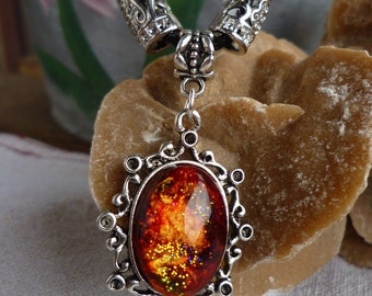"""Painted glass cabochon Necklace by hand """"Vulcano"""""""