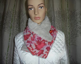 SENDING fast Choker snood with button buttoned scarf bi-polar material and polyester veil.
