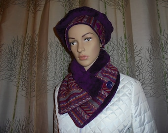 Shipping fast set beret and snood with button buttoned scarf wool bi-material and purple fleece.