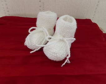 Baby booties - white - knit