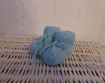 Baby - Blue - knit baby booties