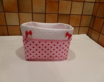 Storage for nursery - pink polka dot red pouch