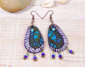 Afro-boho earrings African fabric and blue beads
