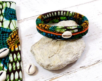 African Wax fabric cuff bracelet in shades of green blue