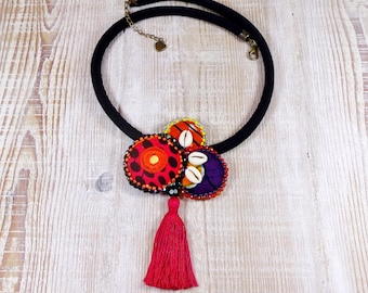 Afro-Boho necklace in Wax fabric beads and curies.