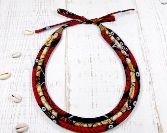 Plastron necklace in Wax fabric ethnic style red tones
