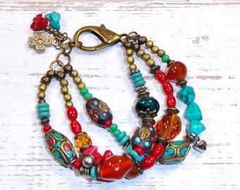 Boho hippie bracelet, Nepalese pearls, turquoise, coral, glass paste, multicolored.