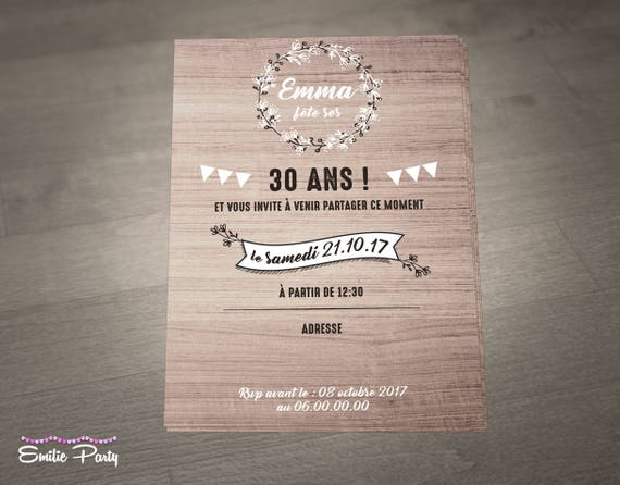 rustic birthday invitation nature personalized print etsy