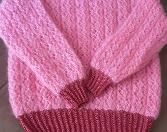 HANDKNITTED PINK  SWEATER kid mohair round neck