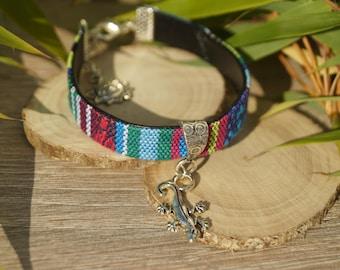 Faux leather and salamander charm bracelet