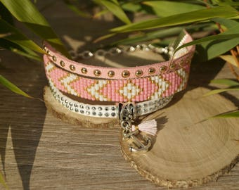 "Bead weaving cuff ""rose"""