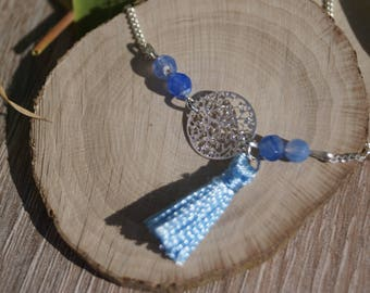 Charm necklace semi precious beads and tassel