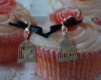 Bird cages pierced earrings