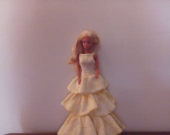 Wool dress and. Yellow knitted silk