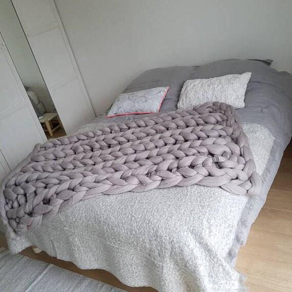 Grau werfen decken für Doppelbett graue super Grobstrick | Etsy