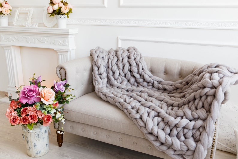 Giant knit chunky throw blankets Birthday Arm knitted soft merino wool Extra large comforter Full size bed throw Lovely gift for woman