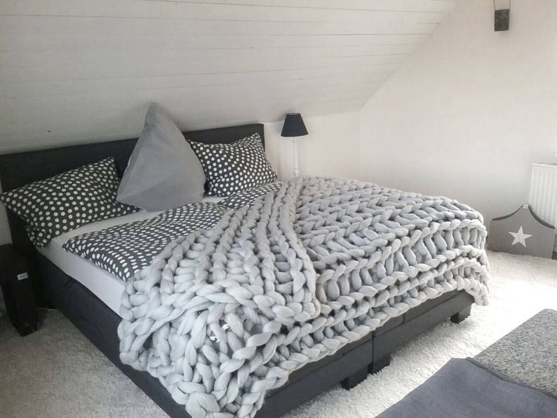 Queen Size Chunky Blanket Soft Bulky Wool Bed Throw Comforter Cable Knit Throw Huge Woollen Blanketr Gifts On Wedding Anniversary