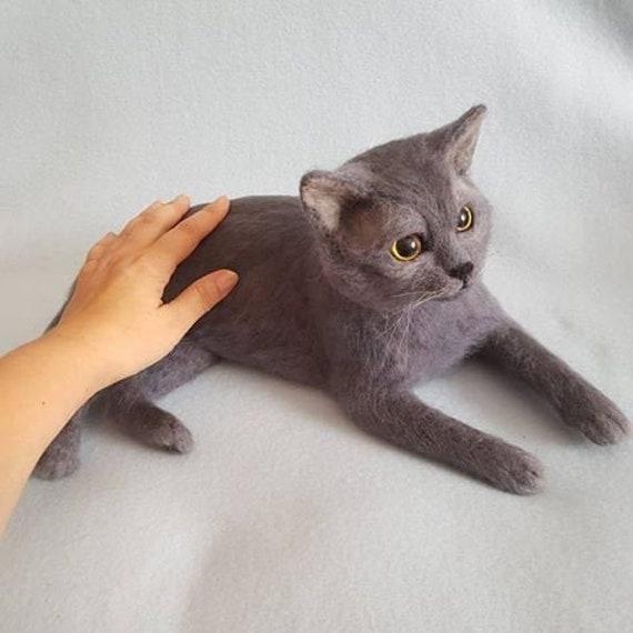 Lifelike Ornamental Stuffed Cat Cats Kittens Real Animals Plush Soft Toys Doll
