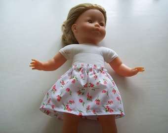 skirt for 36 cm dolls in printed fabric, with vanilla