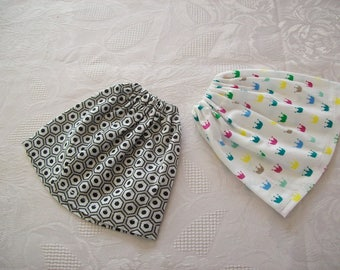 clothes for dolls 32 33 cm, with babies set of 2 cotton skirts