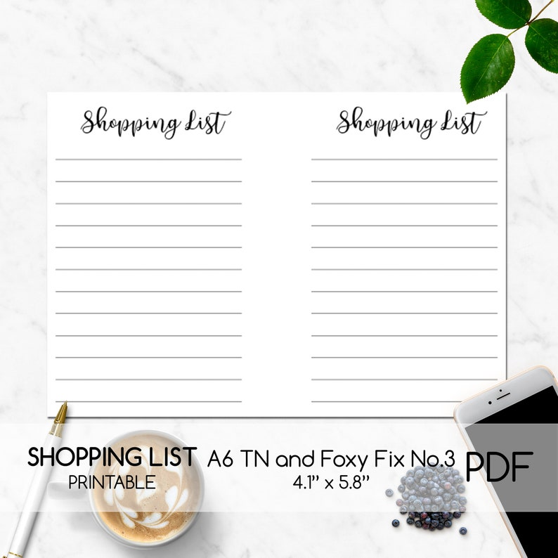 Shopping List Printable Inserts Planner Printable PDF Digital Planner Page Shopping List List Printable,Template A6 TN Foxy Fix