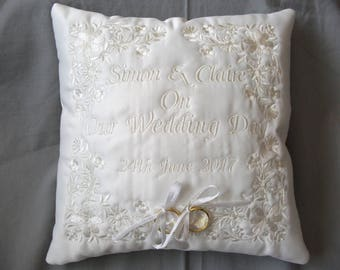 C. Beautiful Bespoke/Personalised Embroidered Wedding ring cushion (Any colour available)