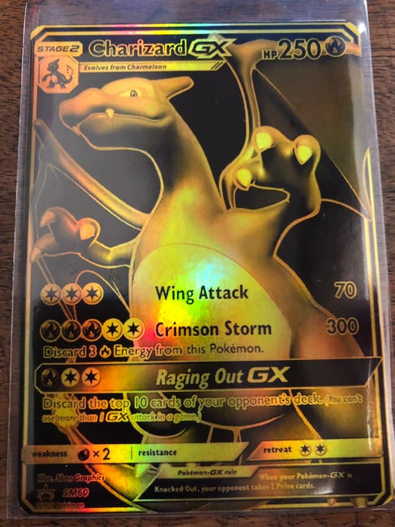 Image Is Loading Pokemon Charizard 23k Gold Card Rare
